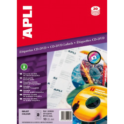 Etiquetas Apli CD/DVD 114 mm inkjet