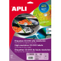 Etiquetas Apli CD/DVD 117 mm inkjet mate