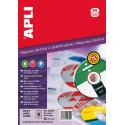 Etiquetas Apli CD/DVD 114 mm inkjet láser opaco
