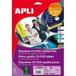 Etiquetas Apli CD/DVD 117 mm láser