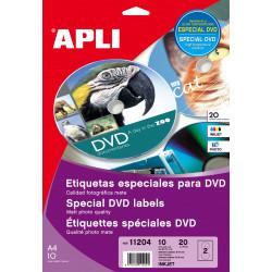 Etiquetas Apli DVD 117 mm inkjet mate