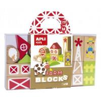 Puzzle educativo bloques de madera 16 piezas granja